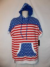 mens enyce sean combs patriotic s/s hoodie shirt L nwt red white blue