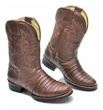 Cowboy Boots for Mens Genuine Leather Texas Western Rodeo Brown Armadillo