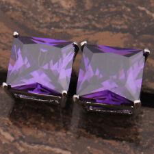 Huge 1cm Deep Purple Amethyst Square Princess Cut Silver Stud Earrings