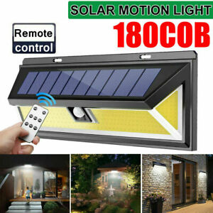 UK 180 LED COB Solar Light Motion Sensor Outdoor Garden Wall Security Waterproof