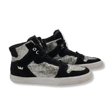 Supra Vaider Skate Shoes Womens 8M High Top Suede Black Silver Lace Up Sneaker