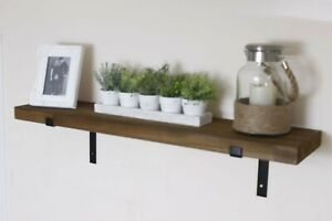 Solid Rustic Shelves Chunky Wooden Kitchen Storage Shelf & Vintage Wall Brackets