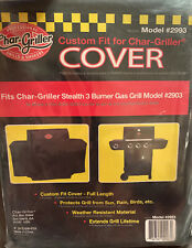 New Char-Griller Stealth 3 Burner Gas Black Polyester Grill Cover Model 2903