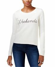 Guess Womens Long Sleeve Weekends Graphic Sweater X-Large XL Ivory $89-