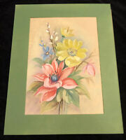 Vintage Original Watercolor and Pastel Painting Signed Matted Floral Flowers