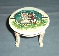 OOAK Hand Painted Miniature Dollhouse Table Furniture Valentines 1:12 Wood White