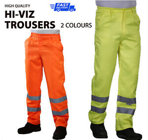 Hi-Viz Work Trousers High Visibility Pants Site Motorway Safety Wear HV015T