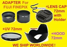 CAMERA LENS ADAPTER S3380+HOOD+UV FILTER+CAP 72mm for FUJI FINEPIX S3380HD HD