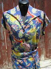"Vintage 1940s Label Royal Hawaiian Aloha Silk Chinese Dragon Print 2pc ""Dress"""