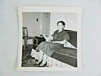 Vintage Black & White Snapshot Woman Dress Sitting Sofa B&W Photograph