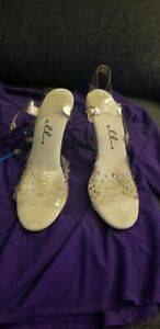 RHINESTONES 4 Inch Stiletto Heel Clear Sandal Women's Size 12 w/ Ankle Strap