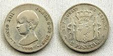 Spain-Alfonso XIII 2 Pesetas 1892 PGM Madrid. Plata. 10g. ESCASA