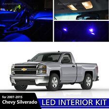 11PCS Blue Interior LED Light for 07-14 Chevy Silverado White for License