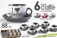SET 6 TAZZINE CAFFE' CON PIATTINO DECORO CUORE 88 ML COLORI ASSORTITI CEZ-685804