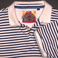 Robert Graham Polo Mens 3XL Pullover Stripped Embroidered Detail Soft Cotton