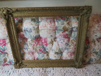 ITEM # 70 ANTIQUE GOLD WOOD ORNATE PICTURE FRAME FOR ART SIZE 16 X 20 NO GLASS