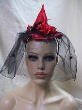 Mini Witch Cocktail Hat Headband Feather Spider Veil Widow Fancy Dress Steampunk