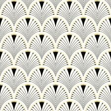 MODERN ART DECO FAN WALLPAPER ROLLS BLACK / GOLD - RASCH 433210
