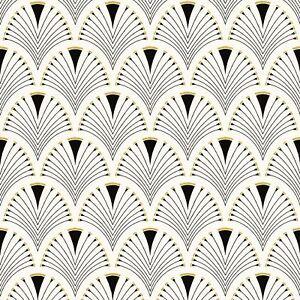 MODERN ART DECO FAN WALLPAPER ROLLS BLACK / GOLD - RASCH 433210
