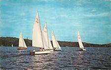 Sailboats boats Massachusetts Ma pm 1976 Postcard