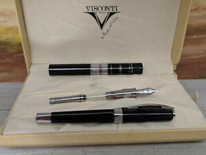 VISCONTI Opera Black with Platinum Plated Trim & M 14K Nib Fountain Pen, NOS!