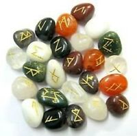 Mix Agate Runes Set for reiki healing with stylish pouch rune set ~ RUNES