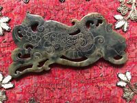 Two Sided Large Chinese Hand Carved Old Jade Plaque Lion & Serpent Pierced MintC