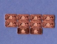 Walking Eagle .999 Copper Bars One Gram  Each 1X10