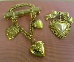 Vtg 1928 CO Heart Brooch Lot Gold tone Locket Etched Chain Dangle Bow Faux Pearl