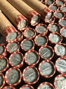 Silver Mercury Dime on Classic US Wheat Penny Coin Roll - Mixed Date/ PDS Coins
