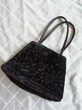 Marks & Spencer Black Soft Flock Pattern Small Handbag Evening Bag