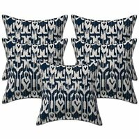 Ethnic Sofa Cushion Covers Blue 16 x 16 Kantha Printed Cotton Ikat Pillow Cases