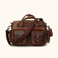 Buffalo Leather Pilot Bag Briefcase Business Laptop Flight Executive Luggage 15""