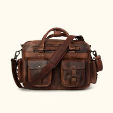 Buffalo Leather Briefcase Messenger Bag 15 In Laptop Satchel Handbag Pilot Bags