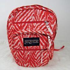JanSport Big Backpack Unisex School Orange White 6 Pockets Multicolor Book Bag