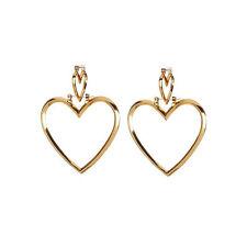 Gold Silver Plated Big Hoop Ear Studs Hollow Dangle Double Heart Earrings Punk