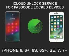 iCloud Remote Unlocking Service, Screen Locked Device, iPhone 6, 6S, SE, 7, 7+