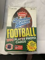 1990 FLEER FOOTBALL WAX BOX - Rice, Bo, Montana, Deion, Aikman, Sanders, Elway