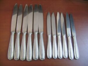 Ensemble de 6 couteaux de table + 6 couteaux à fromage vintages en inox