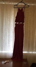 long maxi Crimson Red Cut Out Waist Wired V Neck Cleavage Split 8 10 12 Express