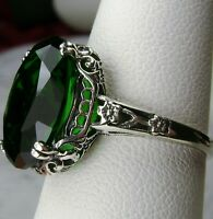 5ct *Green Emerald* Sterling Silver Edwardian Filigree Ring Size {Made To Order}