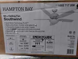 Hampton Bay Southwind 52 in. LED  Matte White Ceiling Fan w/ Light Kit & Remote