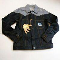 Sabit nyc mens 100% authentic Jean denim L/S Button Jacket size medium dark blue