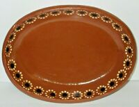 Traditional Mexican Pottery Terracotta Red Barro Clay Serving Dish Platter 9 1/4