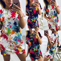 Women's Short Sleeve Gradient Shirt Blouse Ladies Summer Beach Casual Mini Dress