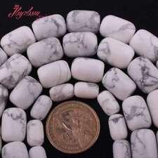 """Columna Howlite Turquesa Piedra Blanca espaciador granos flojos para joyería haciendo 15"""""""