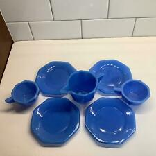 Lot - 7 VTG Akro Agate Glass Blue Octagon Child Toy Dishes Plates Cups Teapot