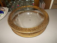 Large CRISTALLERIE SI-AN Italy Bowl & Underplate - Clear w/Crackle Gold Trim