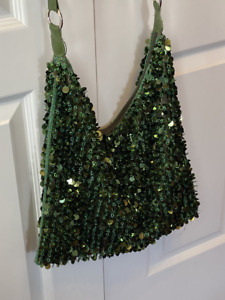 Vintage Green Disco Beaded Sequin Evening Bag Purse