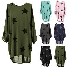 Damen Batwing Stern Lagenlook Knitted Baggy Tunika Longshirt Bluse T-Shirt Top
